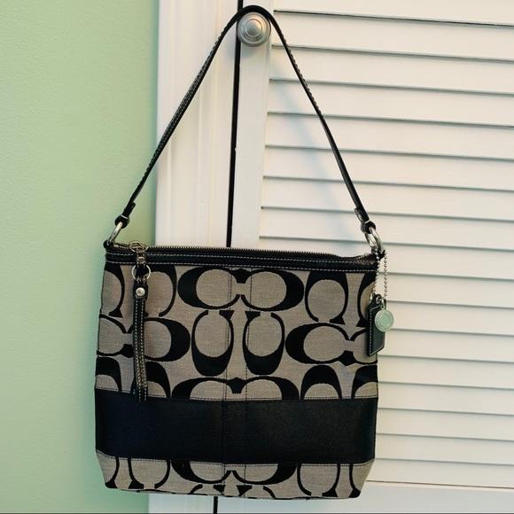 Coach Handbags - Coach Signature Print Canvas Bag with Stripe